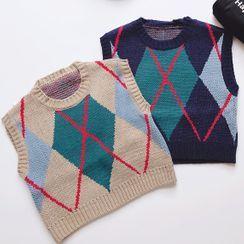 KittyWorld - Kids Argyle Knit Vest