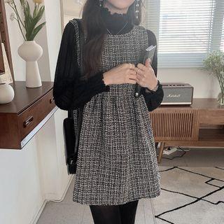 Leoom - Long-Sleeve Mock-Neck Top / Mini A-Line Overall Dress
