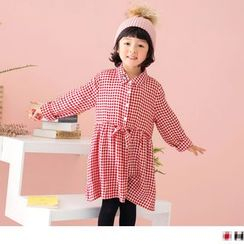 OrangeBear - Kids Heart Embroidered Gingham Shirtdress