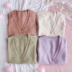 Shitamori - Bear Embroidered Button Knit Vest