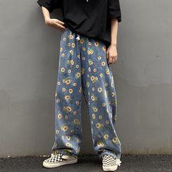 Giuliana - Sunflower Print Wide-Leg Jeans