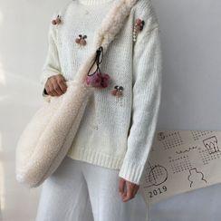 TangTangBags - Cherry Applique Furry Crossbody Bag