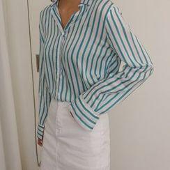 hellopeco - Open-Placket Long-Sleeve Stripe Shirt