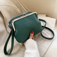 Aishang - Plain Faux Leather Crossbody Bag