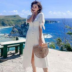 Sadelle - Short-Sleeve Button-Up A-Line Midi Dress
