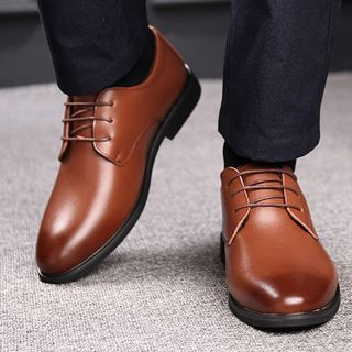 Kayne H - Genuine Leather Lace-Up Shoes / Hidden Wedge Shoes