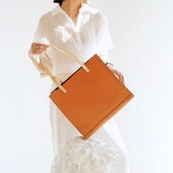 Mango Fish - Two-Tone Genuine Leather Tote Bag