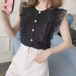 HINSO - Sleeveless Lace Trim Blouse