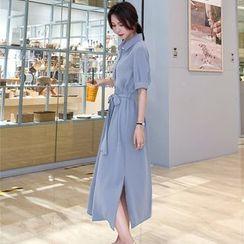 Ariadne - 腰结带短袖长衬衫连衣裙