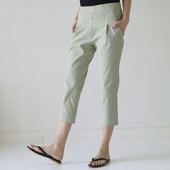 Lemite - Band-Waist Cropped Baggy Pants