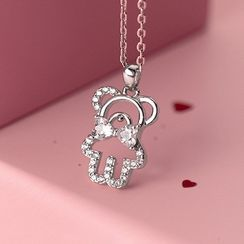 A'ROCH - 925 Sterling Silver Rhinestone Bear Pendant Necklace