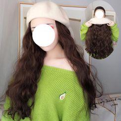 Princess Pea - Long Half Wig with Beret Hat - Wavy