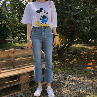 YANSAE - Washed Semi Boot-Cut Jeans