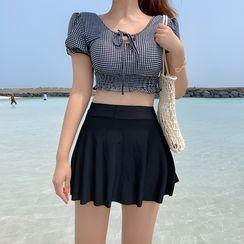 CUCURBIT - Set: Checked Short-Sleeved Swim Top + Swim Skirt