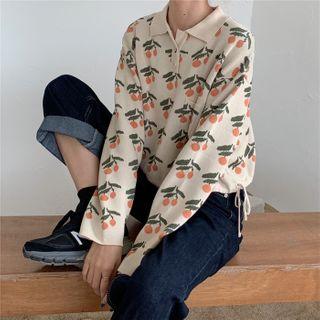 IndiGirl - Cherry Print Long Sleeve Knit Polo Shirt