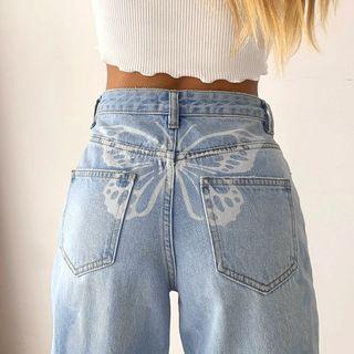 BrickBlack - Butterfly Print Straight Jeans