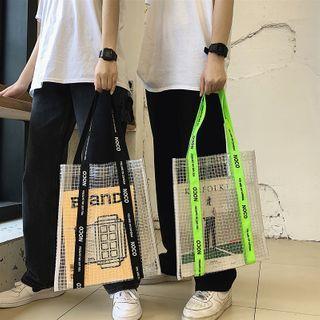 SUNMAN - Lettering Plaid Tote Bag