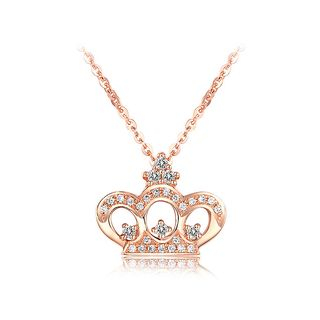 BELEC - 925 Sterling Silver Crown Pendant with White Austrian Element Crystal and Necklace