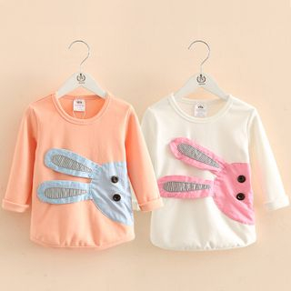 貝殼童裝 - 童裝小兔貼布繡長袖T恤