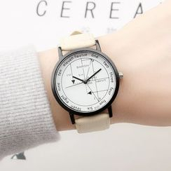 Epoca - Geometry Print Faux Leather Strap Watch