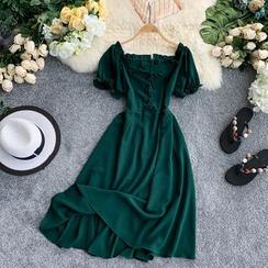 Lucuna - Off Shoulder Short-Sleeve Midi A-line Dress