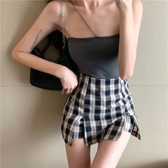 Ginger Girl - Plain Cropped Camisole Top / Plaid Slit Mini A-Line Skirt