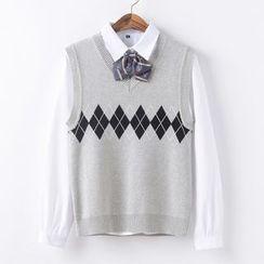 Candy House - V-Neck Argyle Knit Vest