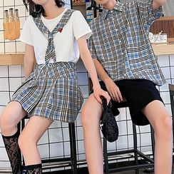 Tabula Rasa - Couple Matching Short-Sleeve Plaid Shirt / Shorts / Skirt / T-Shirt