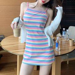 Astarte(アスタルテ) - Light Jacket / Spaghetti Strap Rainbow Stripe Mini Dress