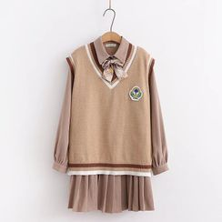 PANDAGO - Set: V-Neck Sweater Vest + Pleated Mini A-Line Shirtdress