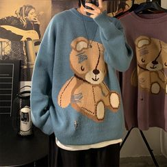 SuperLittle - Long-Sleeve Round Neck Bear Knit Sweater