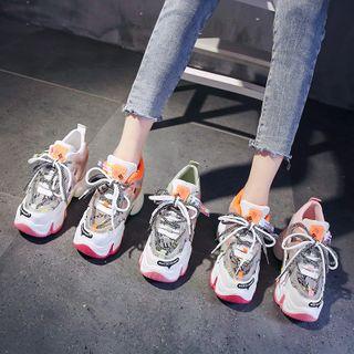 Sleeko - Multi-Color Mesh Panel Platform Sneakers
