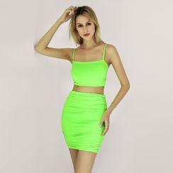 Leewon - 套装: 短款吊带背心 + 高腰铅笔裙
