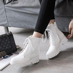 Freesia - 厚底粗跟繫帶短筒靴