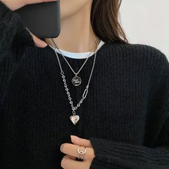 Show Mind - Stainless Steel Heart Pendant Layered Necklace