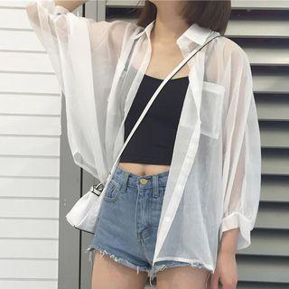 Hanji - Chemise transparente à manches courtes