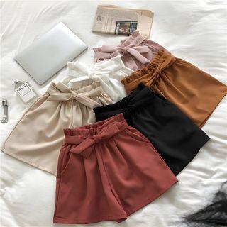 DIYI - 纯色高腰系带短裤