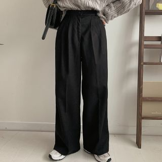 MERONGSHOP - High-Waist Wide-Leg Pants