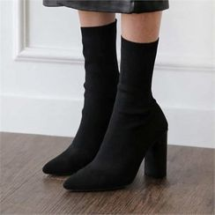 MONOBARBI - Pointy-Toe Knit Sock Boots