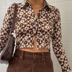 Sosana - Long Sleeve Collared Printed Cropped Shirt