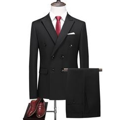 Bay Go Mall - Set: Plain Double-Breasted Blazer + Dress Pants