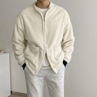 Seoul Homme - Zip-Up Faux-Fur Boxy Jacket