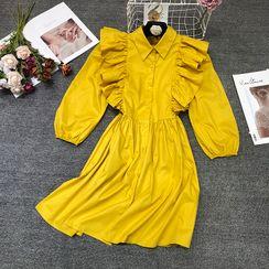 Queen's Den - Ruffle Lantern-Sleeve Mini Dress