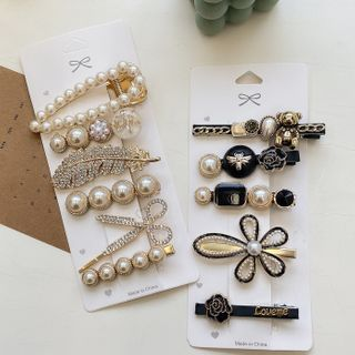 Kiren - Set: Faux Pearl / Alloy Hair Clip (assorted designs)
