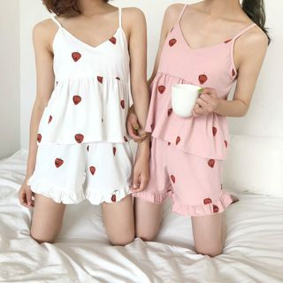 Tanee - Pajama Set: Strawberry Spaghetti Strap Top + Shorts