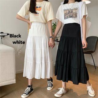Mikiko - Tiered A-Line Midi Skirt