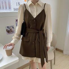 Ashlee - Long-Sleeve Mini Shirtdress / Spaghetti Strap Buttoned Mini A-Line Dress