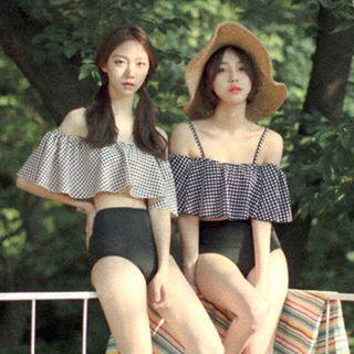 Shanyoo - Ruffle Off-shoulder Off-shoulder 2-piece Swimsuit