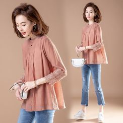 RAIN DEER - 3/4-Sleeve Lace-Panel Tunic Top