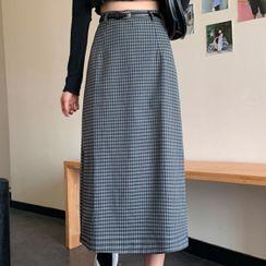 Sugamilkus - Plaid Midi A-Line Skirt